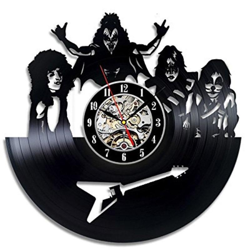Banda Rock Reloj Lp Kiss Disco Pared Acetato Decorativo De JcTKlF31