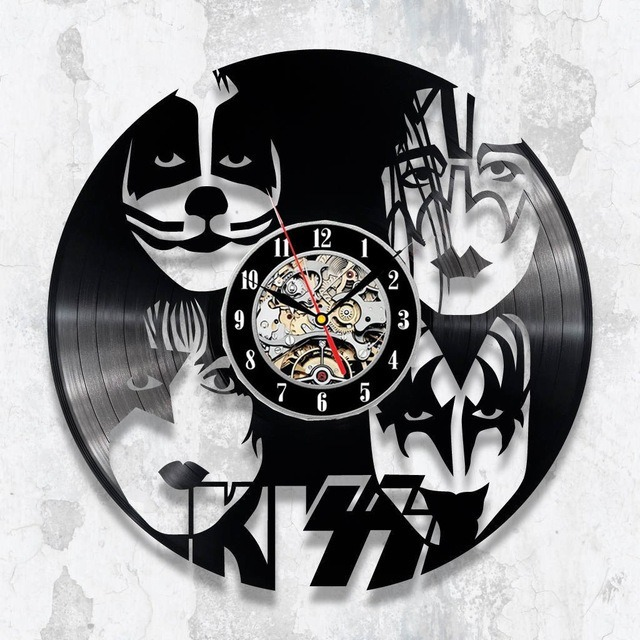 Decorativo Reloj Kiss Acetato De Banda Lp Disco Pared Rock PkXuOZi
