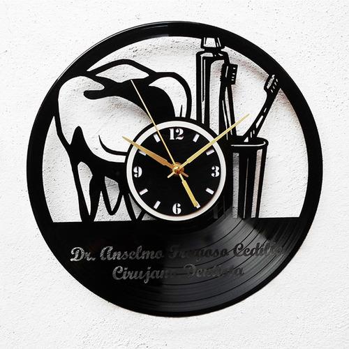 reloj disco vinilo vinil acetato lp dentista con tu nombre !