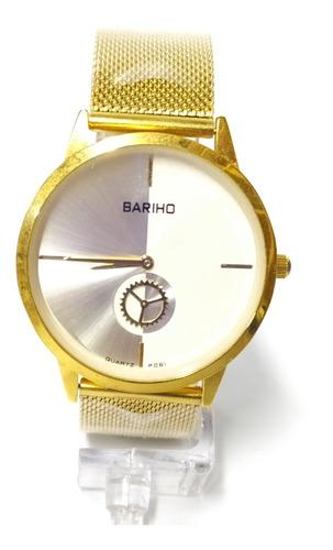 reloj dorado bariho diseño elegante tablero doble colo