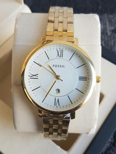 reloj dorado dama acero fossil elegante