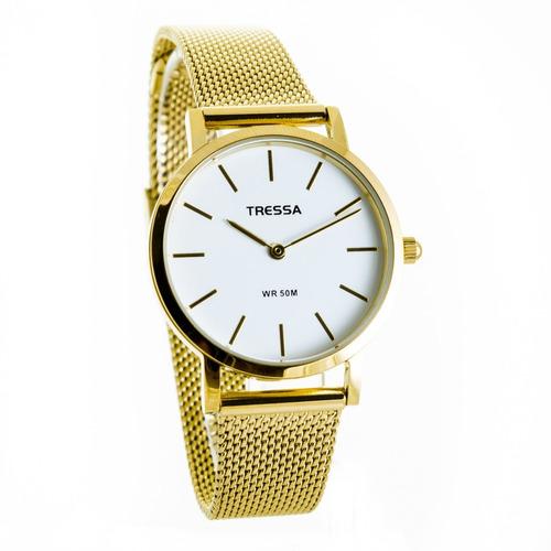 reloj dorado de mujer tressa  malla tejida bonnie-g