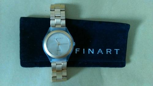 reloj dorado unisex finart quartz