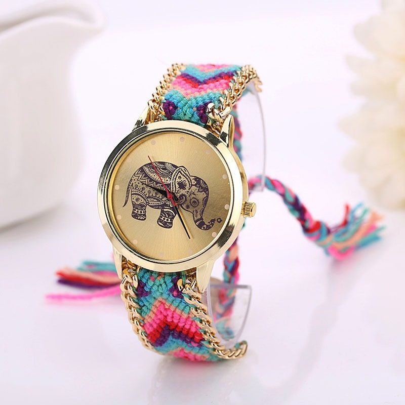 Hermoso Bordado Reloj Para Elefante Retro Vintage Mujer odCWrxQBeE