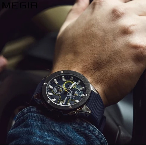 reloj elegante con cronografo megir deporte regalo azul