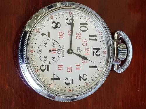reloj elgin ferrocarrilero de bolsillo antiguo con detalles