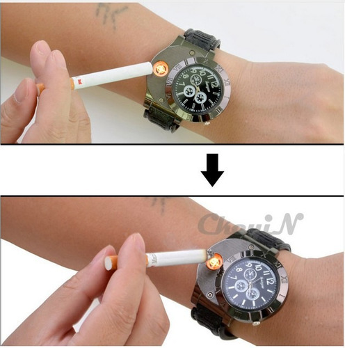 reloj encendedor electronico de cigarrillo 2 en 1