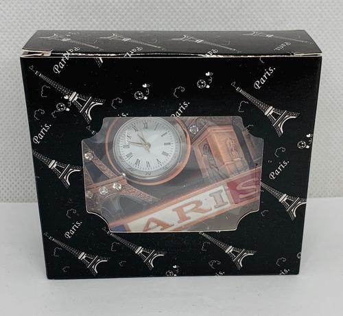 reloj escritorio tarjetero paris metal souvenir regalo