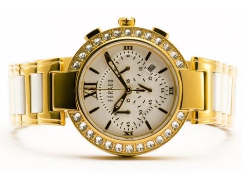 reloj feraud acero cerámica  swarovski garantía oficial 12 m
