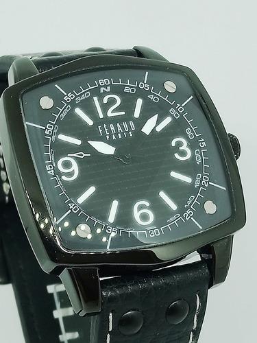 reloj feraud hombre cuero negro original