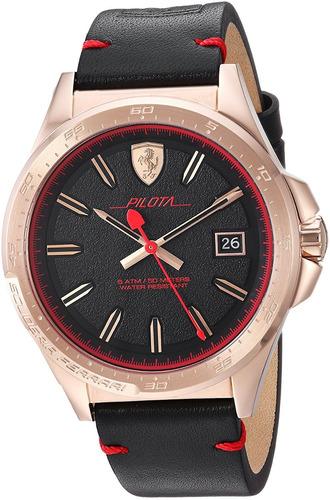 reloj ferrari para hombre 0830462 color negro caja de acero