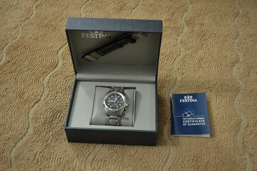 reloj festina f16170/1.doble malla, acero y cuero.cronografo