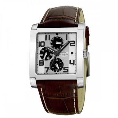 reloj festina f16235/2 correa marrón caja cromada blanco