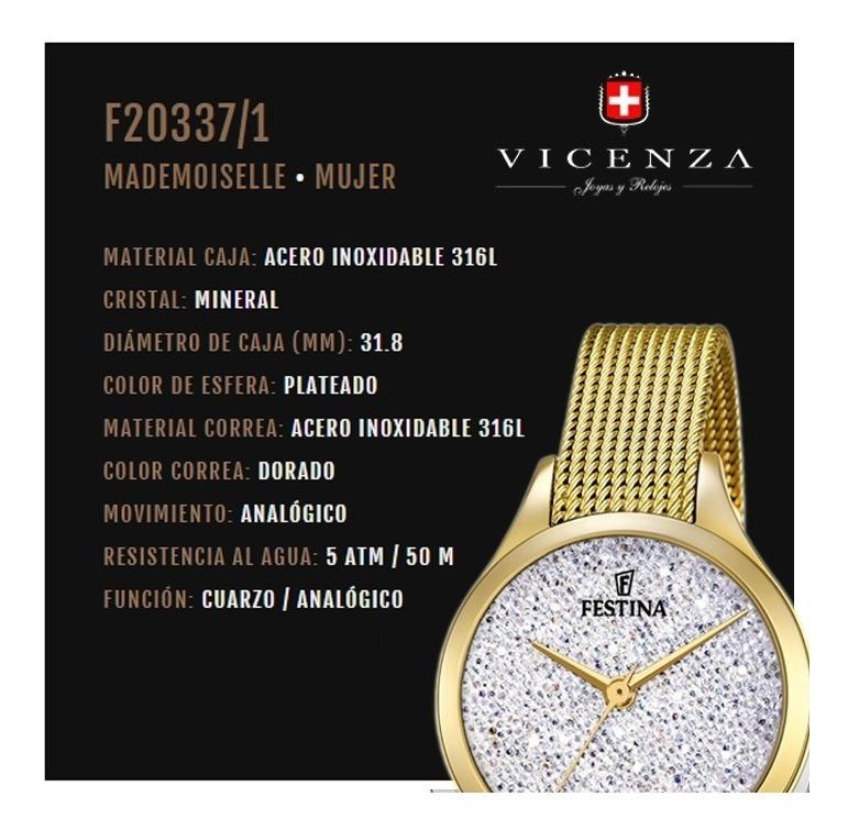 Reloj Festina F20337.1 Mujer Con Cristales Swarovski