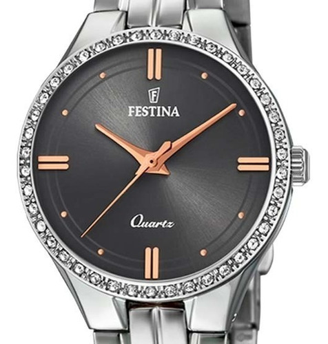 reloj festina mujer f20218.2 acero plateado garantía