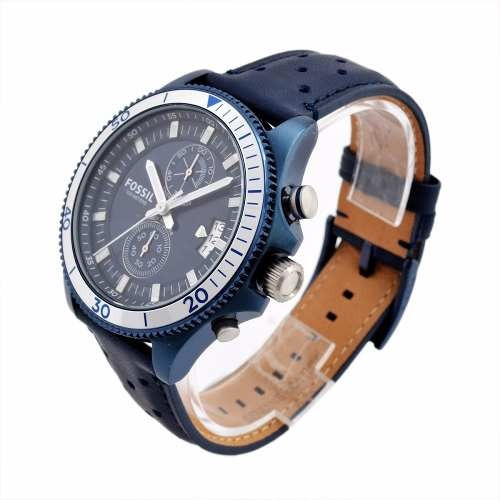 reloj fossil ch3012 cuero azul para caballero analogico
