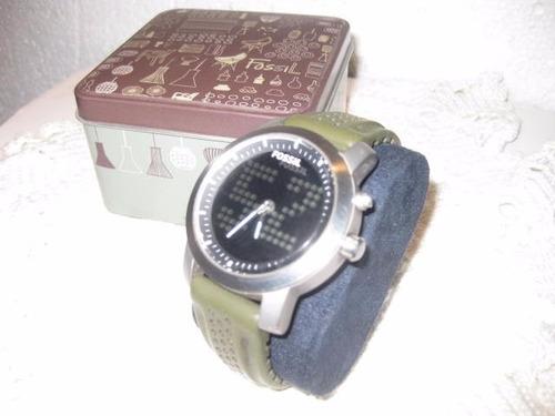 reloj fossil ,correa resina verde