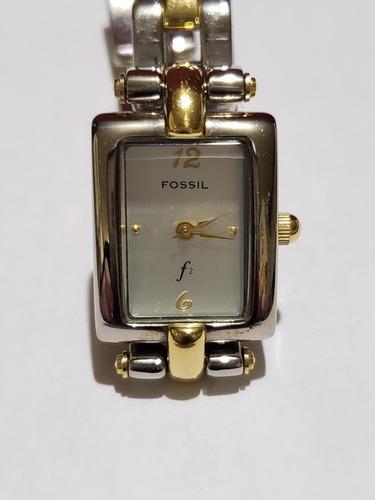 reloj fossil dama f2 combinado rectangular acero es-8924