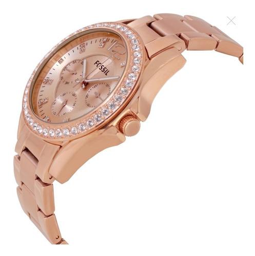 reloj fossil es2811 riley multifunción mujer oro rosa stock