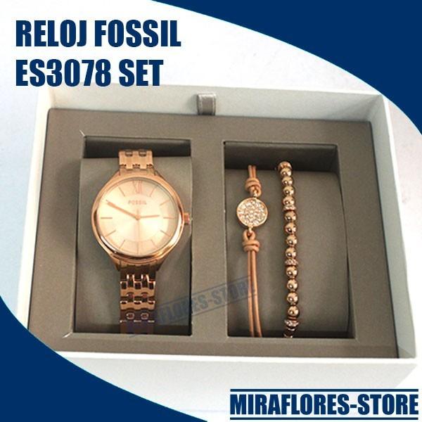 auténtico zapatos elegantes disponible Reloj Fossil Es3078 Set Gold Rose 2 Pulseras Para Dama