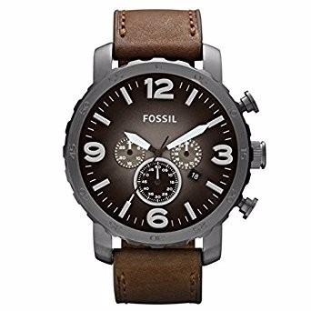 reloj fossil fs4656 resina cuero cafe cronografo original