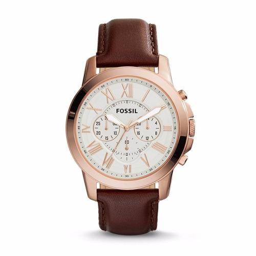 reloj fossil grant cronógrafo cuero hombre fs4991