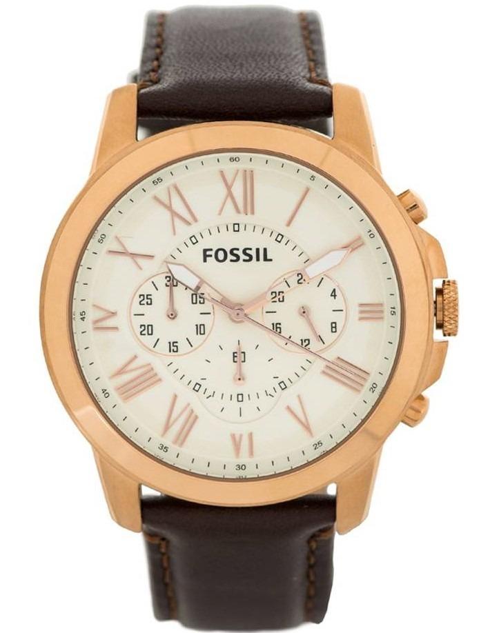 7c756f6540e5 reloj fossil grant fs4991 chrono piel acero café oro rosa. Cargando zoom.