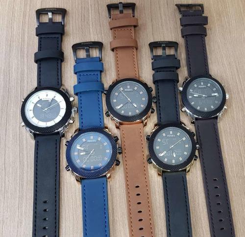 reloj fossil hombre cuero doble hora modelo elegante