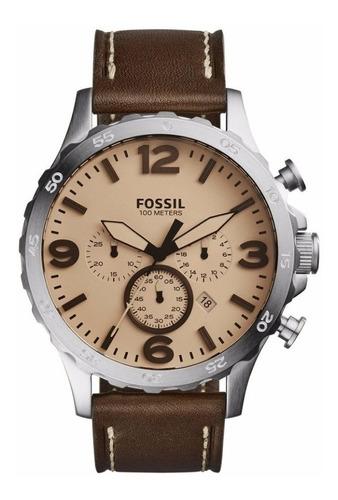reloj fossil jr1512 para caballero pulso en cuero cafe