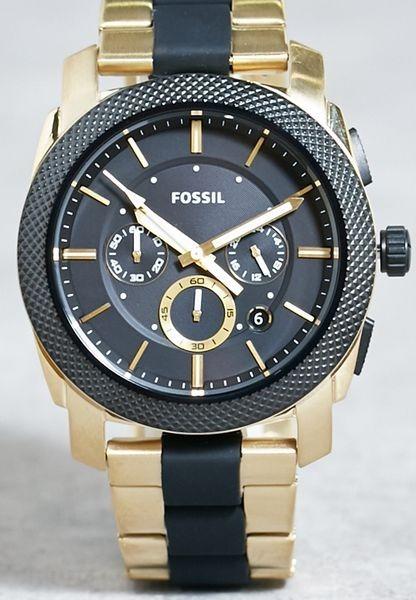 9ff1eee63bb4 Reloj Fossil Machine Fs5261 Hombre Dorado negro Cronografo ...