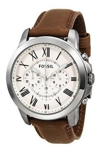 reloj fossil men's correa de cuero brown cronografo fs4735