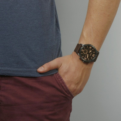reloj fossil nate correa cuero jr1487 - 100% original