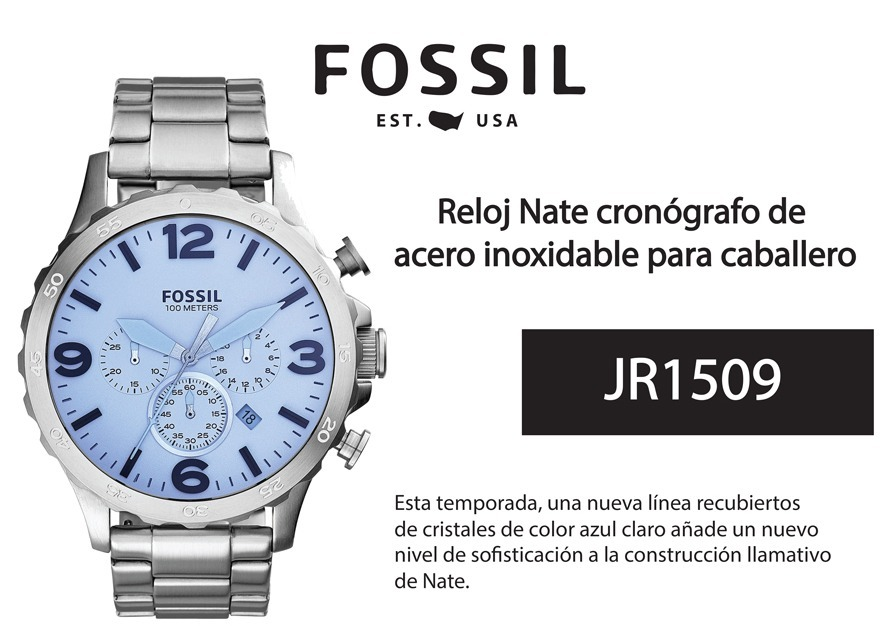 5f8e73521b40 Reloj Fossil Nate Cronografo Jr1509 Acero Envio Gratis -   2