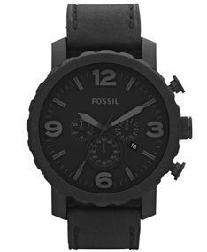 Reloj Fossil Nate Jr1354 Chrono Pielacero Negro Caballero