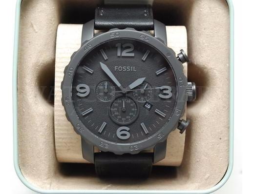 Reloj Fossil Nate Jr1354 Hombre Negro Mate Cronografo