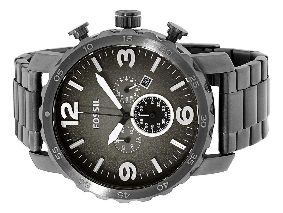 Reloj Fossil Nate Jr1437 Chrono Acero Gris Original Para Hombre