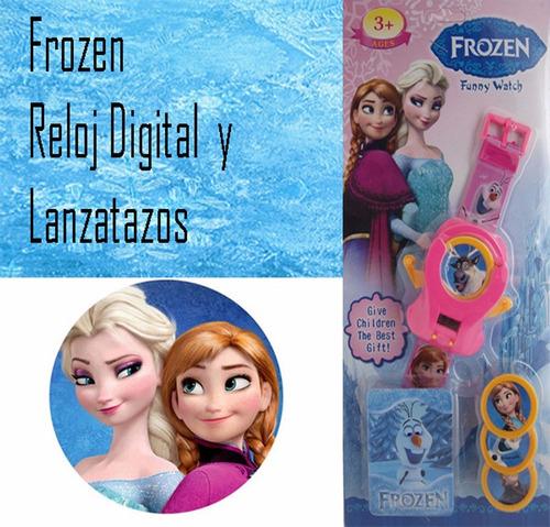 reloj frozen original disney + lanza tazos 2 en 1 sellado