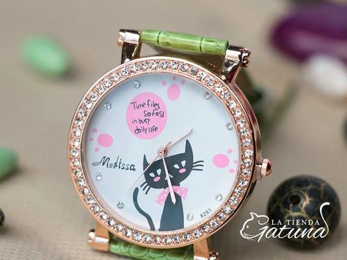 reloj gato y brillantes pulso cuero sintético - mujer