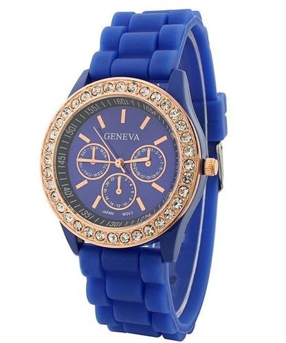 reloj geneva brillantes hkwatch colores pulsera dama origina