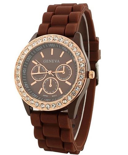 reloj geneva brillantes sin baterias colores pulsera dama