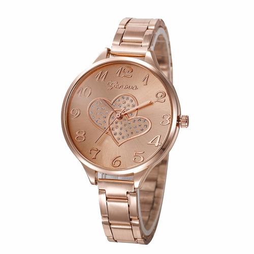 reloj geneva corazon amor enamorados metal elegante