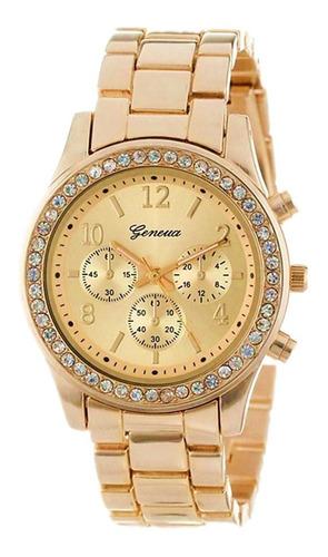reloj geneva dama dorado pedrería mayor detal