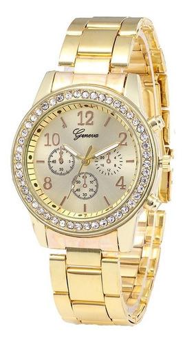reloj geneva diamante metalico elegante moda mujer dama proveedor