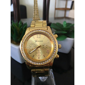 Reloj Geneva Dorado, Plateado Y Bronce Para Damas