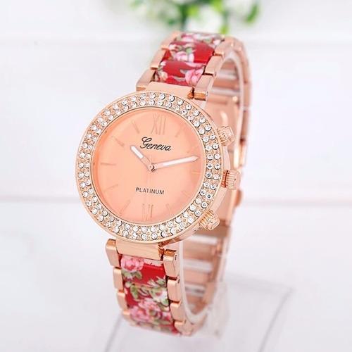 reloj geneva florales de acero con brillantes 11 colores