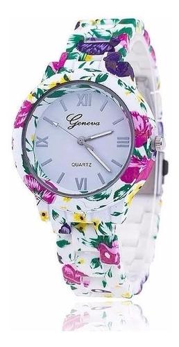 reloj geneva floreado platinum, moda del verano,vea diseño