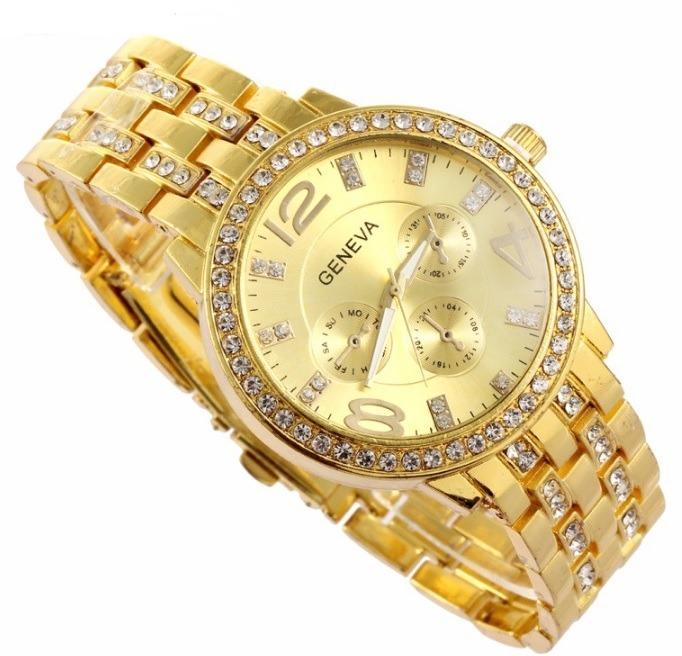 db778ece3ef4 Reloj Geneva Oro Amarillo Y Plata Piedras Mujer Dama - S  27