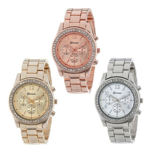 reloj geneva oro rosado metálico mujer bonito diseño promo