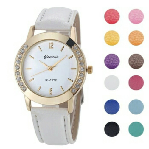 reloj geneva símil cuero colores