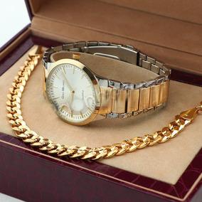 Reloj Gino Milano Y Brasalete 22 Cm En Laminado En Oro 14k